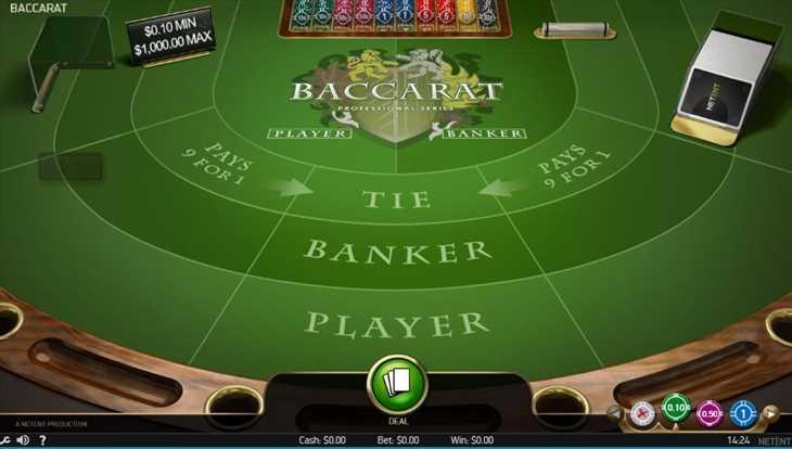 アクセス直後の「Baccarat PRO」の画面