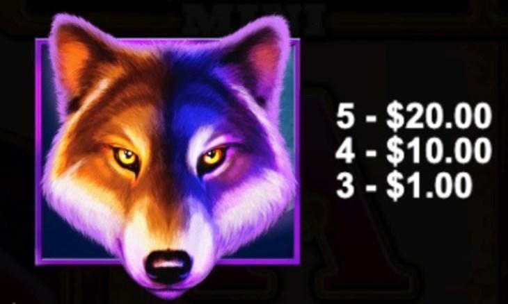 スロット名にもなっているオオカミが使われています。